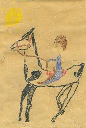 Earliest Stermer-Cox. $25,000.  Crayon on brown paper bag.
